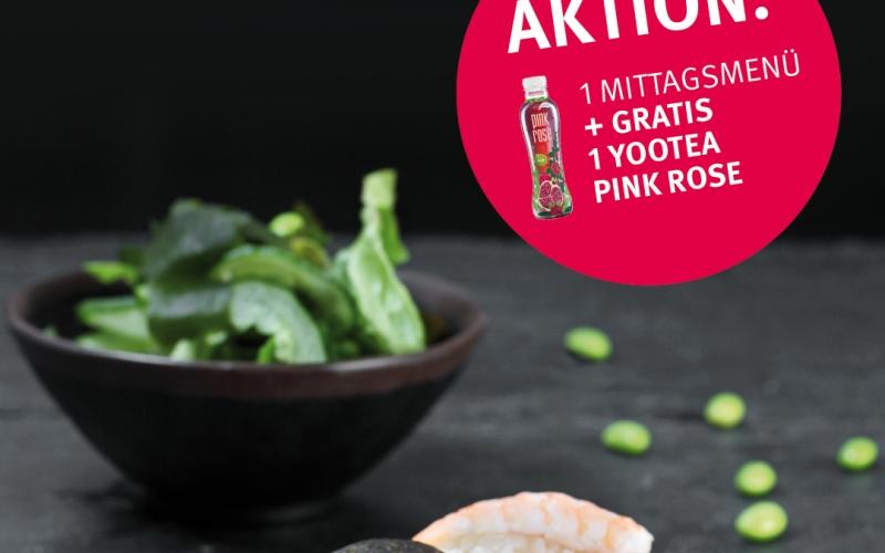 Ein yootea Pink Rose zu jedem Mittagsmenü gratis